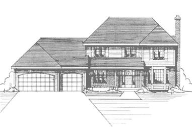 4-Bedroom, 2245 Sq Ft Colonial House Plan - 146-2870 - Front Exterior