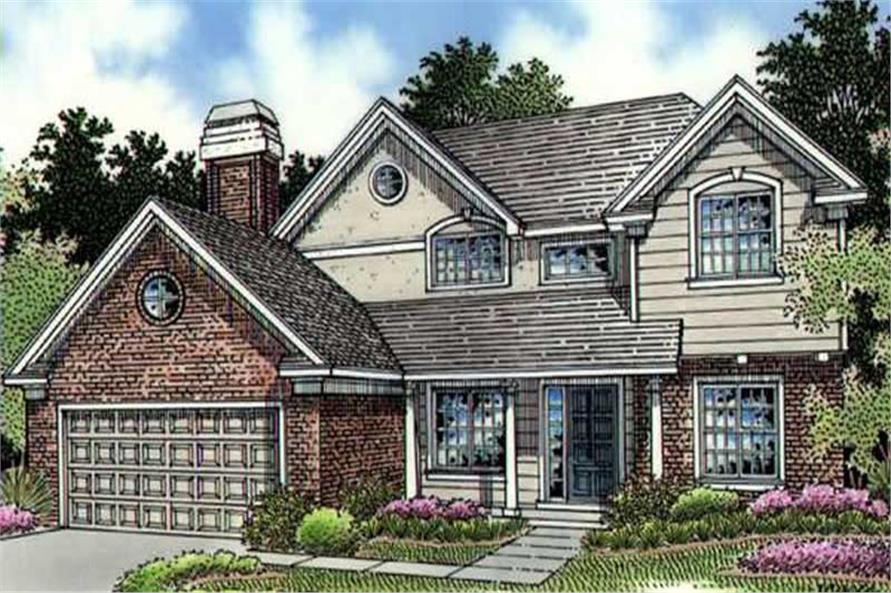 This is the front elevation of Country Houseplans LS-B-95009.