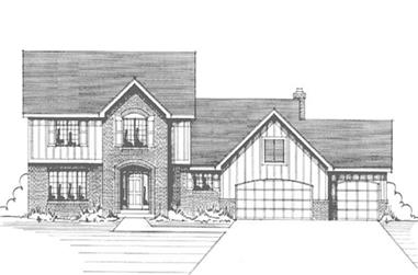 3-Bedroom, 2423 Sq Ft Colonial Home Plan - 146-2878 - Main Exterior