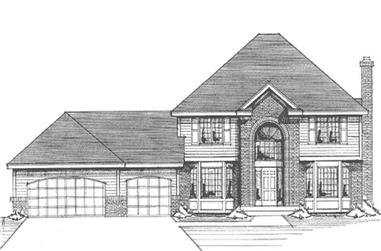 4-Bedroom, 2700 Sq Ft Colonial Home Plan - 146-2879 - Main Exterior