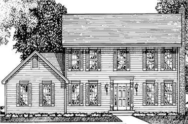 4-Bedroom, 2448 Sq Ft Colonial Home Plan - 146-2887 - Main Exterior