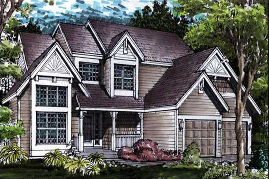 Colored front rendering for country houseplans LS-B-90010.