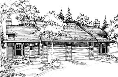 2-Bedroom, 1098 Sq Ft Multi-Unit House Plan - 146-2901 - Front Exterior