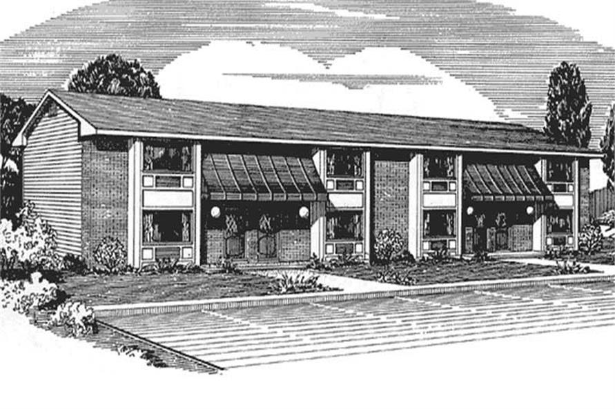 This is a front elevation of Multi-Unit House Plans LS-H-548-5A4.