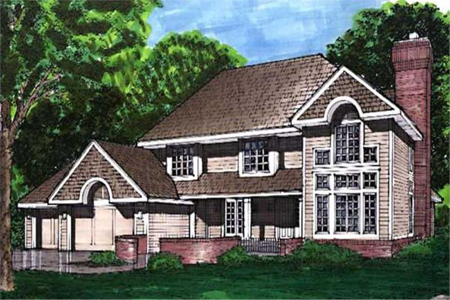This colored rendering shows the front elevation of European Home Plans LS-B-92011.