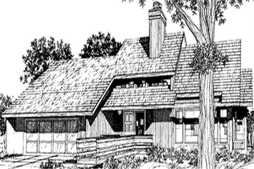 This image shows the modern ranch style for this set of house plans.