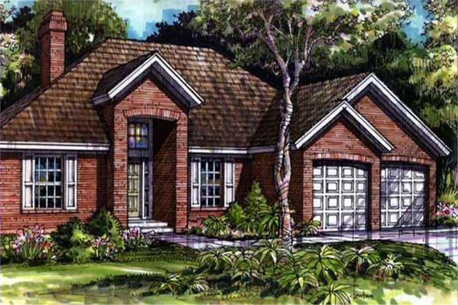Colored Elevation for European Home Plans LS-B-90039.