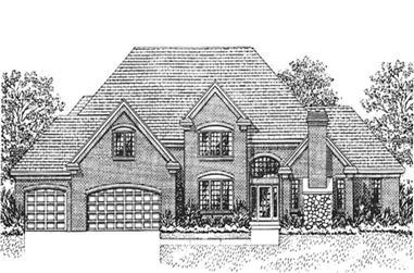 4-Bedroom, 3687 Sq Ft European House Plan - 146-2919 - Front Exterior