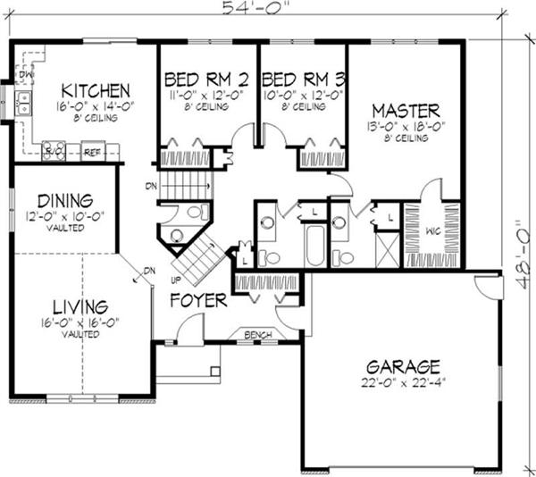 Multi level country 1 1 2 story house plans home for Multi level home floor plans