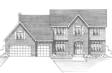 4-Bedroom, 2797 Sq Ft Colonial House Plan - 146-2945 - Front Exterior