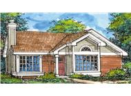This is the colored front rendering for Ranch House Plan LS-B-92017