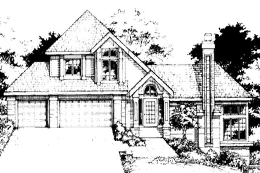 This image shows the front elevation of these Country House Plans, Multi-Level House Plans, 1-1/2 Story House Plans.