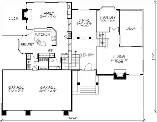Multi level house plans country house plans 1 1 2 story for Multi level floor plans