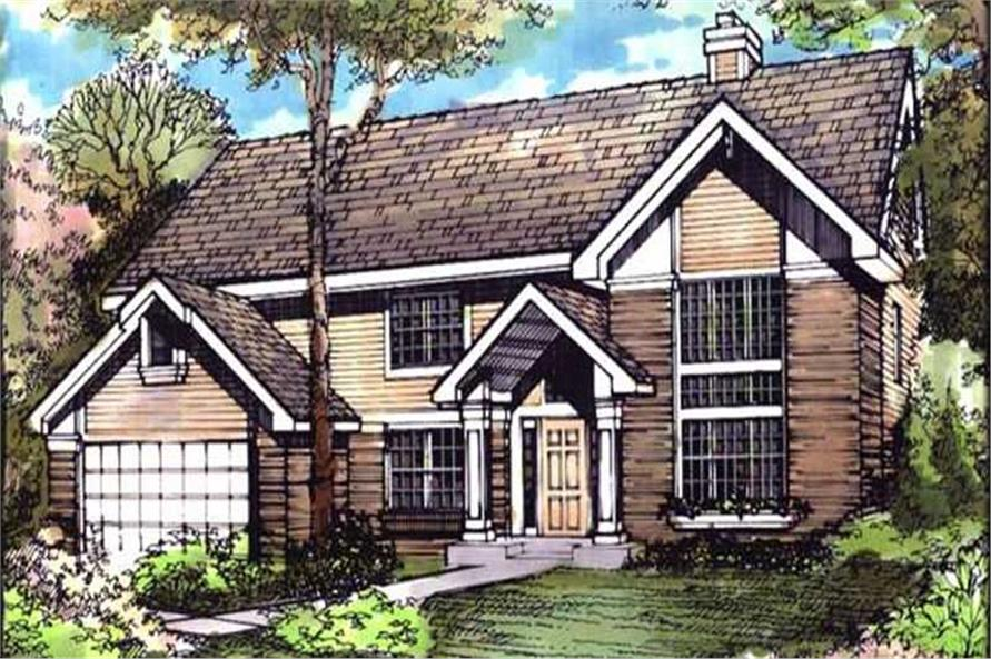 Country House Plans LS-B-90033 front colored elevation.