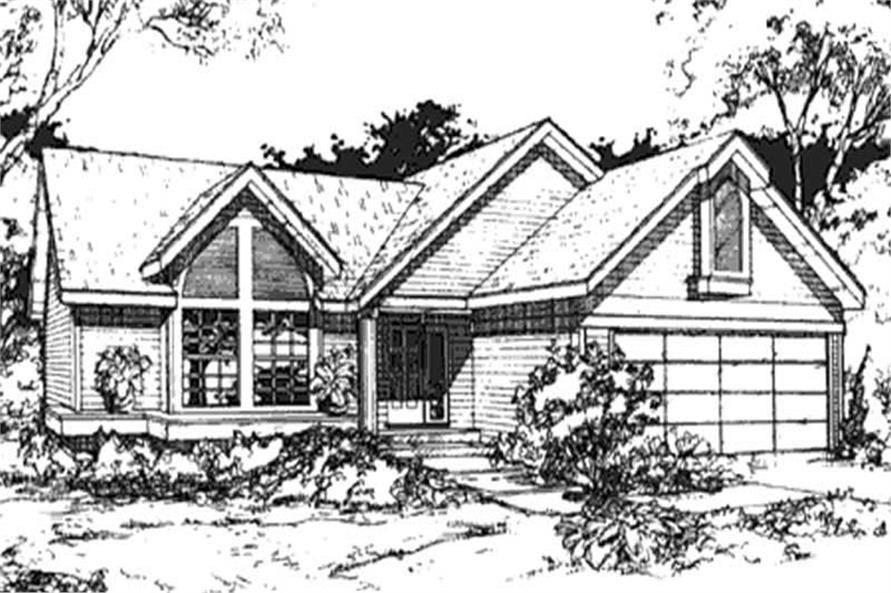 This image shows the front elevations of these Country House Plans, Ranch House Plans.
