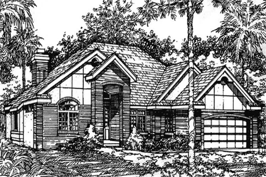 Front elevation for European Home Plans LS-B-90507.