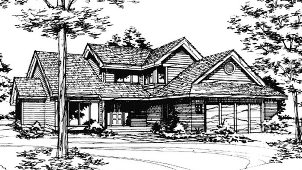 This image shows the front elevation of these Traditional House Plans, Country House Plans, Ranch House Plans, 1-1/2 Story House Plans.