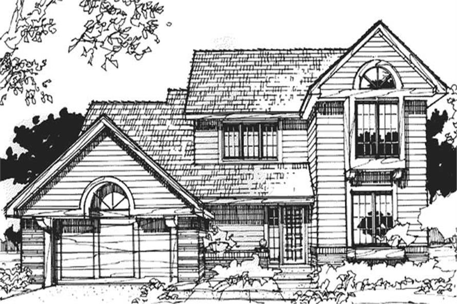 This image shows the 1-1/2 Story/Country style of this set of house plans.