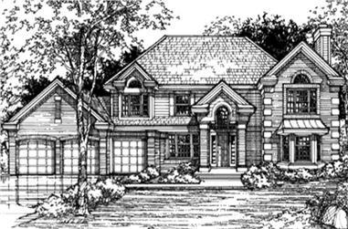 3-Bedroom, 3195 Sq Ft European House Plan - 146-2981 - Front Exterior