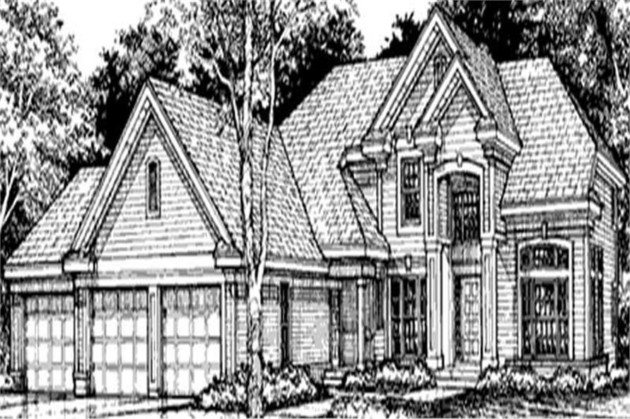 Home Plan Front Elevation of this 4-Bedroom,3469 Sq Ft Plan -146-2986