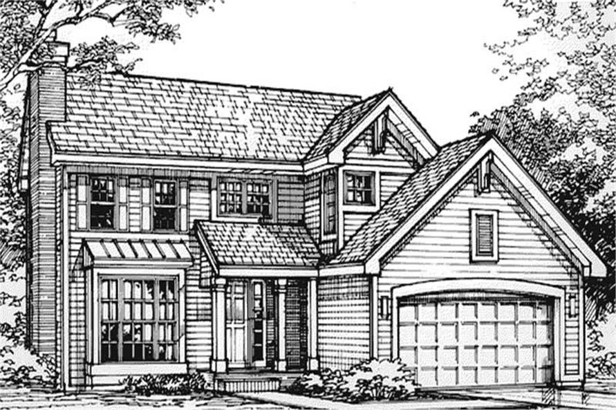 This shows the front elevation of these country homeplans LS-B-93024.