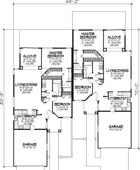 Multi Unit House Plans Home Design Ls B 92044