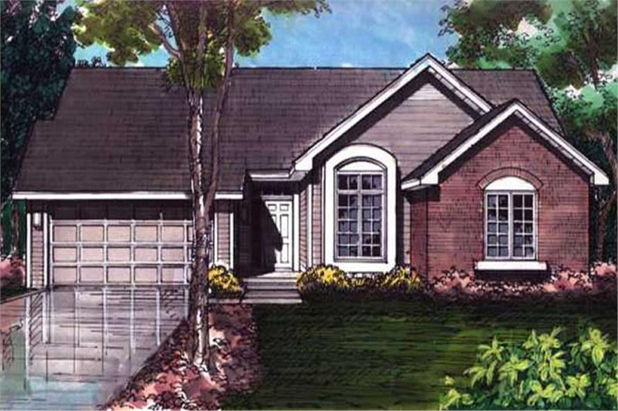 This shows the colored front elevation of these Ranch Houseplans (LS-B-92043).