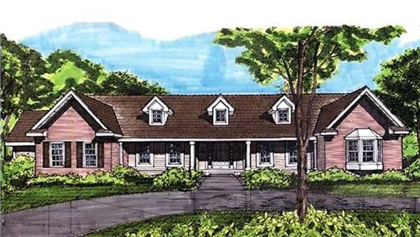 This is the colored front elevation of Ranch Home Plans LS-B-92039.