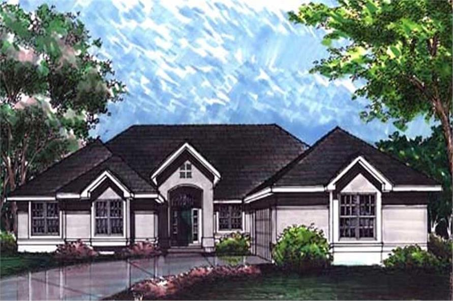 This shows the front elevation of Ranch Houseplans LS-B-92038.