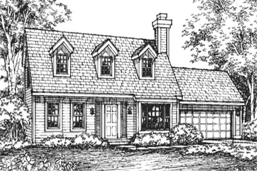 This is the front elevation of these cape cod house plans (LS-B-92037).