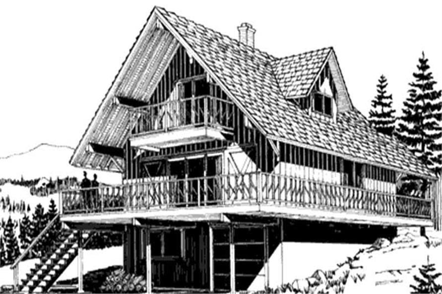 This shows the front elevation of these vacation house plans LS-H-103-B.