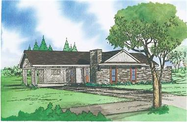 3-Bedroom, 1458 Sq Ft Small House Plans - 147-1000 - Front Exterior