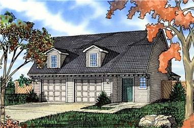 0-Bedroom, 1447 Sq Ft Garage Home Plan - 147-1008 - Main Exterior