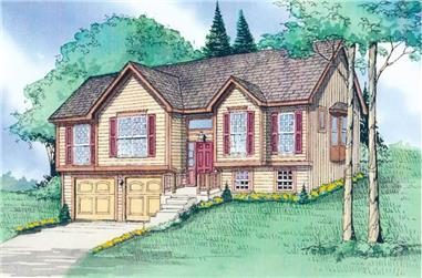 3-Bedroom, 1529 Sq Ft Multi-Level House Plan - 147-1012 - Front Exterior
