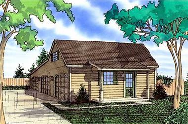 0-Bedroom, 1189 Sq Ft Garage Home Plan - 147-1013 - Main Exterior