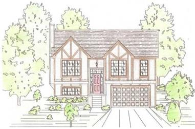 3-Bedroom, 1265 Sq Ft Tudor House Plan - 147-1014 - Front Exterior