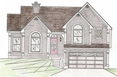 4-Bedroom, 1681 Sq Ft Multi-Level House Plan - 147-1018 - Front Exterior