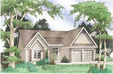 3-Bedroom, 1610 Sq Ft Country Home Plan - 147-1020 - Main Exterior