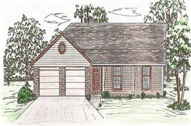 3-Bedroom, 1333 Sq Ft Country House Plan - 147-1021 - Front Exterior