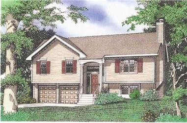 3-Bedroom, 1432 Sq Ft Multi-Level House Plan - 147-1023 - Front Exterior