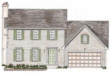 4-Bedroom, 1575 Sq Ft Colonial House Plan - 147-1031 - Front Exterior