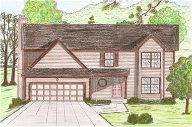 4-Bedroom, 2053 Sq Ft Traditional Home Plan - 147-1034 - Main Exterior