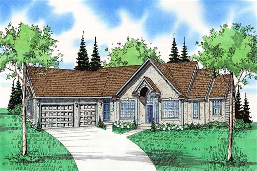 Front elevation of Luxury home (ThePlanCollection: House Plan #147-1040)