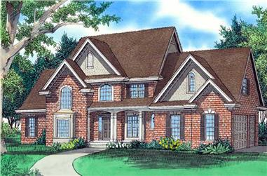 4-Bedroom, 3070 Sq Ft Traditional Home Plan - 147-1041 - Main Exterior