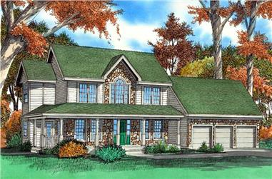 3-Bedroom, 2416 Sq Ft Country Home Plan - 147-1042 - Main Exterior