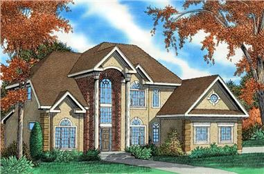 3-Bedroom, 3154 Sq Ft European Home Plan - 147-1052 - Main Exterior