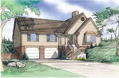 3-Bedroom, 1300 Sq Ft Multi-Level House Plan - 147-1054 - Front Exterior