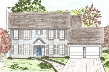 4-Bedroom, 2174 Sq Ft Colonial Home Plan - 147-1057 - Main Exterior