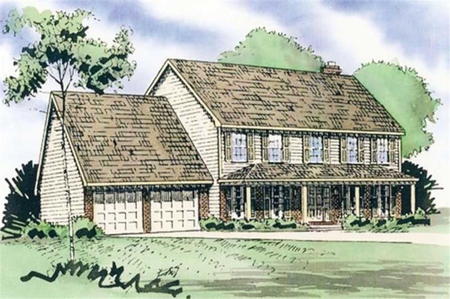 Front elevation of European home (ThePlanCollection: House Plan #147-1074)