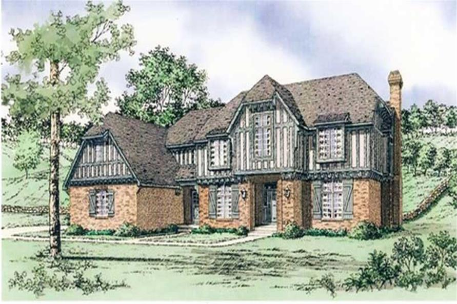 Front elevation of European home (ThePlanCollection: House Plan #147-1078)